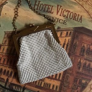 Whiting & Davis white mesh purse